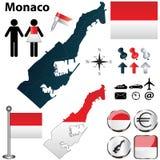 摩纳哥的地图 库存图片