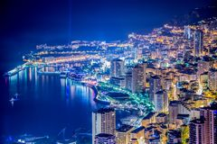 摩纳哥的晚上视图 免版税库存图片