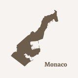 摩纳哥的概述地图 免版税库存照片