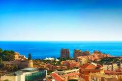摩纳哥的西部部分的看法 免版税库存照片