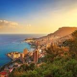 摩纳哥蒙特卡洛公国鸟瞰图 天蓝色的海岸法国 免版税库存图片