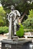 摩纳哥阿尔伯特1的王子雕象在圣马丁庭院摩纳哥里 图库摄影