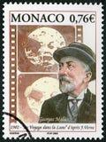 摩纳哥- 2002年:展示玛里乔治吉恩Melies 1861-1938,制片商,到月亮的一次旅行1902年 库存图片