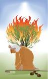 摩西和燃烧的矮树丛 免版税库存照片