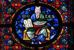 摩西和石片剂-彩色玻璃 库存图片