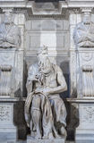 摩西雕象在罗马 库存照片