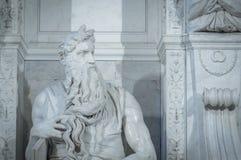 摩西雕象米开朗基罗在罗马 免版税库存图片