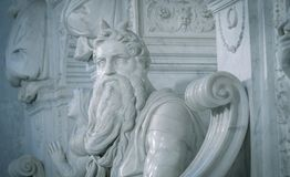 摩西雕象米开朗基罗在罗马 库存图片