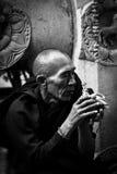 摩诃菩提寺的献身者,菩提伽耶,印度 库存照片