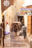 摩洛哥工作者运载的骆驼掩藏到皮革厂