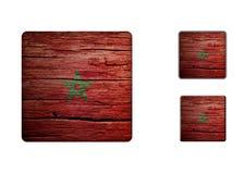 摩洛哥旗子按钮 免版税库存照片