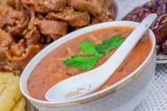 摩洛哥汤和甜点 免版税库存图片