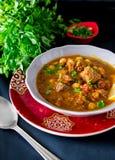 摩洛哥汤harira用肉、鸡豆、扁豆、蕃茄和sp 免版税库存图片