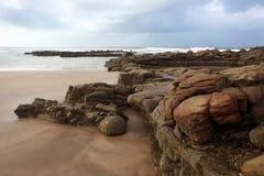 摩洛哥海岸在Dar Bouazza 免版税库存照片