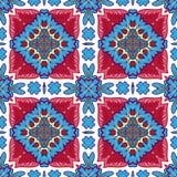 从摩洛哥瓦片,装饰品的华美的无缝的补缀品样式 免版税库存照片