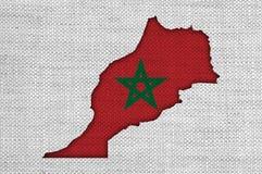 摩洛哥的地图和旗子老亚麻布的 库存例证