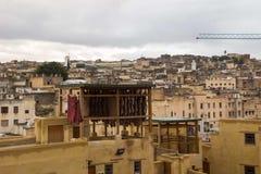 摩洛哥的著名Chouwara皮革厂 库存图片