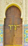 摩洛哥装饰门背景  免版税库存图片
