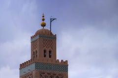 摩洛哥马拉喀什Koutoubia清真寺和尖塔 免版税库存照片