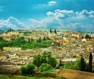 摩洛哥,城市墙壁的风景在Fes 免版税库存图片