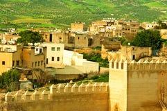 城市墙壁的风景在市Fes 图库摄影