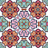 从摩洛哥,葡萄牙瓦片, Azulejo,装饰品的无缝的补缀品样式 图库摄影
