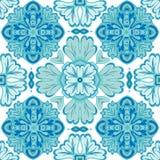 从摩洛哥,葡萄牙瓦片, Azulejo,装饰品的无缝的补缀品样式 库存图片