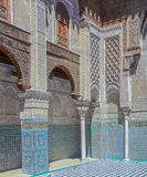 摩洛哥medersa的内在庭院 免版税库存照片