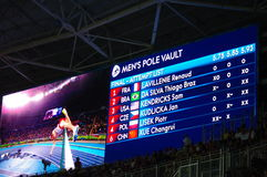 撑竿跳高在Rio2016奥林匹克的竞争决赛 库存照片