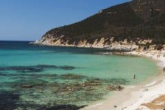 撒丁岛。Villasimius。Sa Ruxi波尔图海滩 库存图片