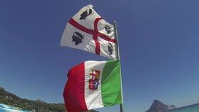 撒丁岛和意大利旗子 股票录像