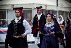 撒丁岛的传统服装 免版税库存图片