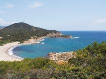 撒丁岛的海岸在普拉,意大利附近的 免版税库存图片
