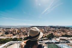 撒丁岛的首都鸟瞰图  免版税库存图片