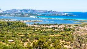 撒丁岛,意大利的东方海岸的海景 库存照片