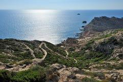 撒丁岛,意大利- Carloforte的海运 库存照片