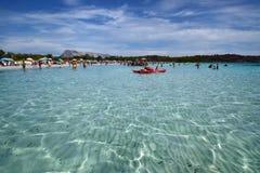 撒丁岛, La Cinta,圣特奥多罗海滩,在奥尔比亚省  库存图片
