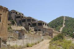 撒丁岛 开采的被放弃的大厦 库存照片