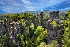 撒克逊人的瑞士,德国 Bastei桥梁,国家公园 免版税库存照片