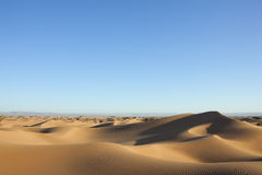 撒哈拉大沙漠与清楚的蓝天的沙丘。 库存图片