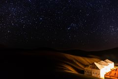 撒哈拉大沙漠繁星之夜 免版税图库摄影