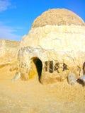 撒哈拉大沙漠,突尼斯- 2008年1月03日:电影星际大战的射击的被放弃的集合 库存图片