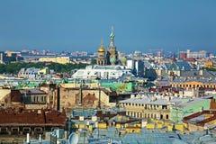 从以撒大教堂,圣彼得堡的鸟瞰图 图库摄影