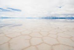 撒拉尔de uyuni,盐湖在玻利维亚 库存照片