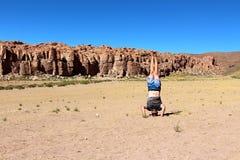 撒拉族de Uyuni沙漠 库存图片