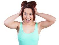 撕毁她的头发的妇女 免版税库存照片