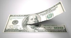 撕毁的美国美元 库存图片