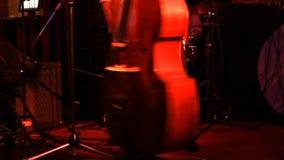 播放低音提琴、手和弓细节的人 股票录像