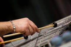 播放铁琴的人的手 免版税库存图片