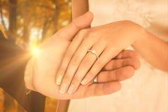 播种的图象的综合图象的最近婚姻握手的夫妇 库存图片